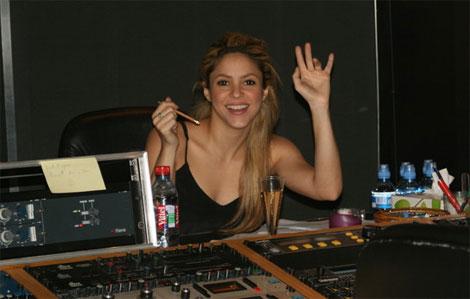 Shakira in the recording studio circa July 2009