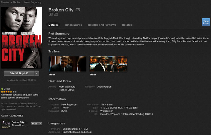 Broken City (iTunes HD Digital Download Review)