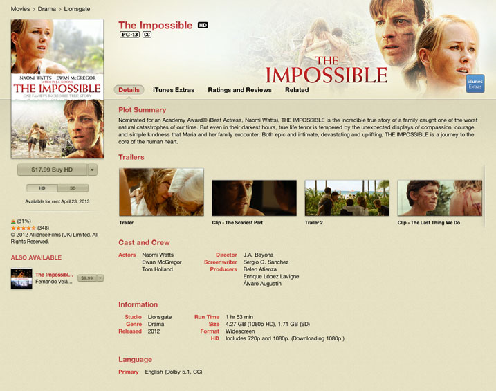 The Impossible (iTunes HD Digital Download Review)