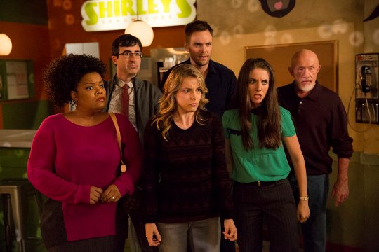 """COMMUNITY -- """"Analysis of Cork-Based Networking"""" Episode 506 -- Pictured: (l-r) Yvette Nicole Brown as Shirley, John Oliver as Professor Ian Duncan, Gillian Jacobs as Britta, Joel McHale as Jeff, Alison Brie as Annie, Jonathan Banks as Professor Buzz Hickey -- (Photo by: Justin Lubin/ NBC)"""