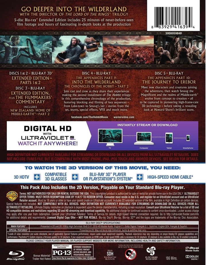 The Hobbit Desolation of Smaug Extended 3D Rear Cover