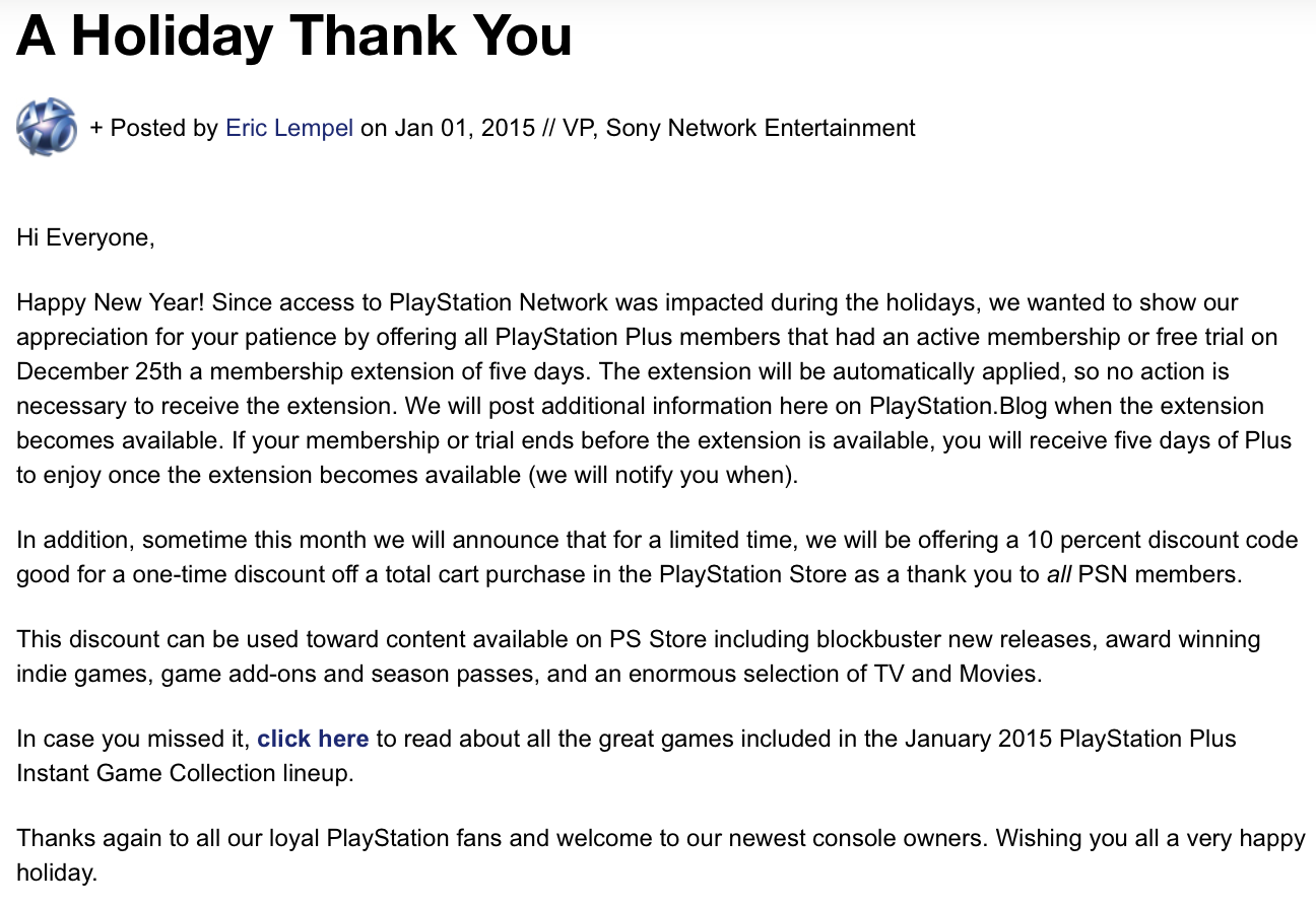 Sony PSN Outage Makeup