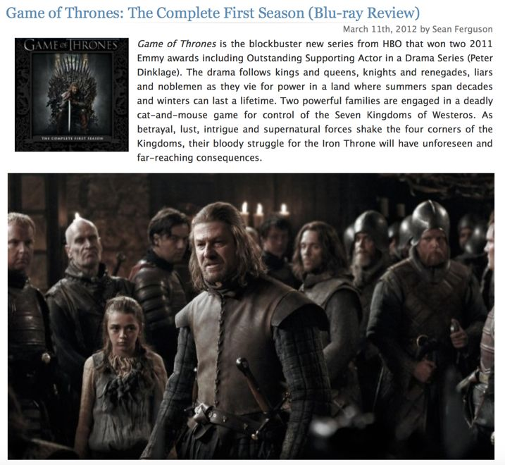 Game of Thrones Season 1 Blu-ray Review
