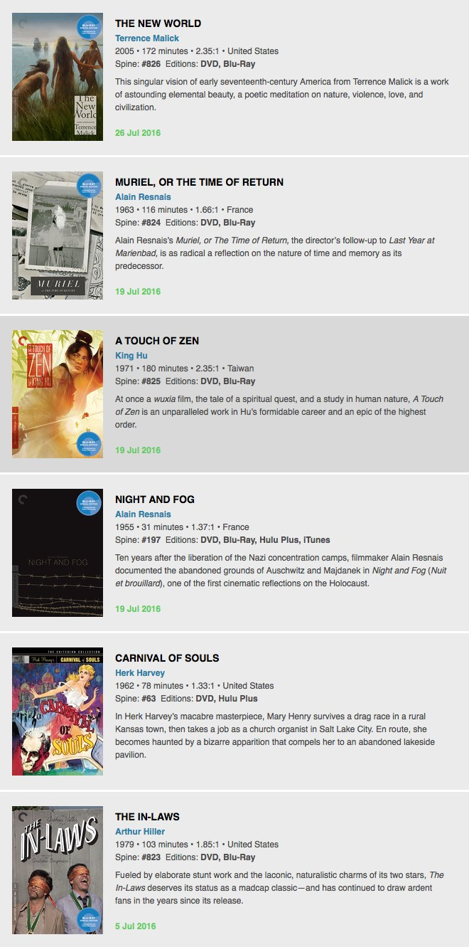 Criterion - July Titles
