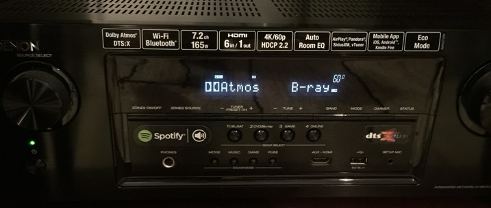 Dolby Atmos Displayed on Receiver