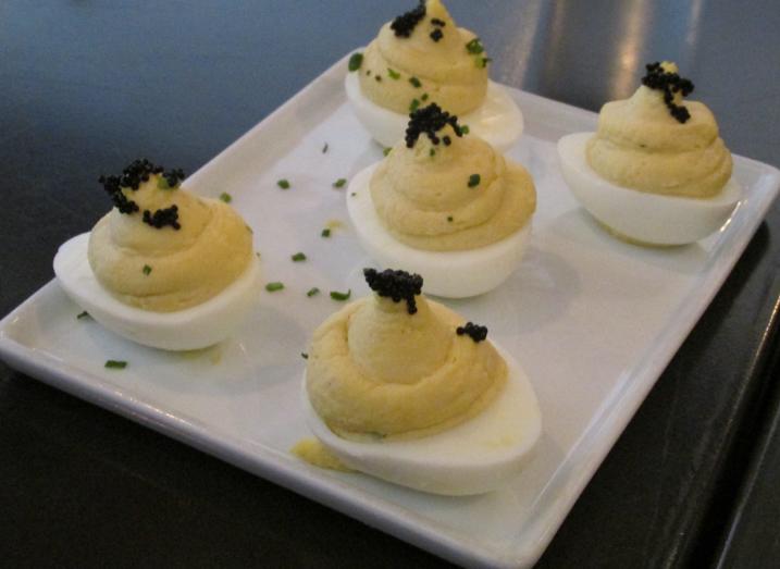 Deviled Eggs w/Caviar - oh, boy!