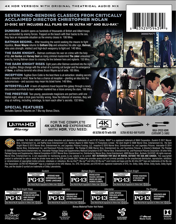 Christopher Nolan 4K Collection Cover - Rear